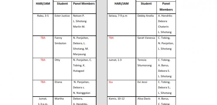 Jadwal Ujian Seminar Proposal